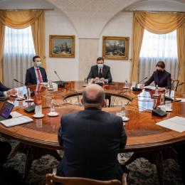 Prvaki SDS, NSi, SMC, SD, SAB, SNS in DeSUS s predsednikom države Borutom Pahorjem (photo: Kabinet predsednika vlade)